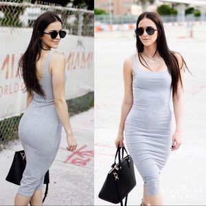 Grey Suede Midi Dress